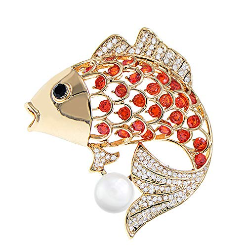 Cubic Zirconia Fish Brooches For Women New Year Good Luck Pin Red Color Fashion Winter Jewelry