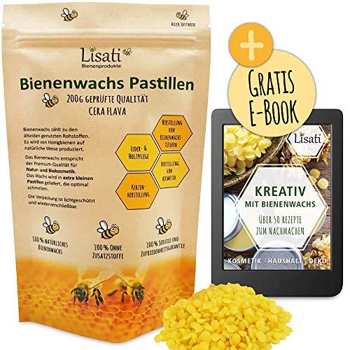 Lisati 200g natürliche zertifizierte Bienenwachs-Pastillen vom Imker Plus 50 Rezepte auf 74 Seiten über Salben Seifen Kerzen Kosmetik Kerzen, extra klein und schnell schmelzend