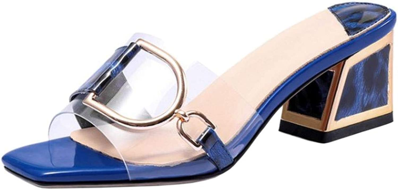 Lydee Women Fashion Square Heels Summer shoes Transparent Slide Sandals