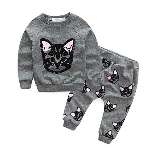 puseky peuter kinderen meisjes schattig kat trui tops & broek trainingspak outfits set