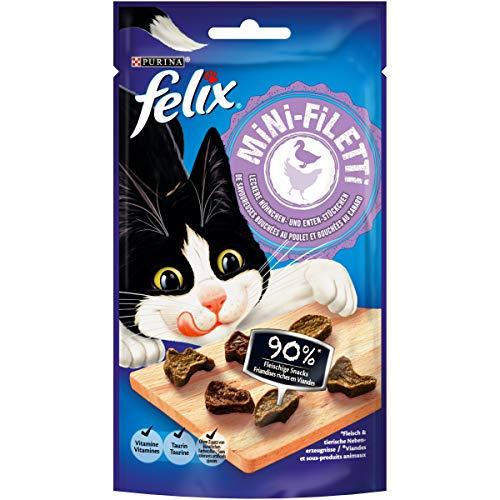 FELIX Mini-Filetti - Caruchas para Gatos con 90 % de Carne, con Pollo y Pato, 7 Unidades (7 x 40 g)