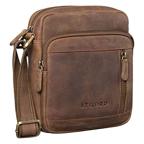 STILORD 'Trae' Tasche Herren Umhängetasche klein Leder Vintage Messenger Bag Herrenhandtasche für Tablet Moderne Leder Schultertasche für Männer, Farbe:mittel - braun