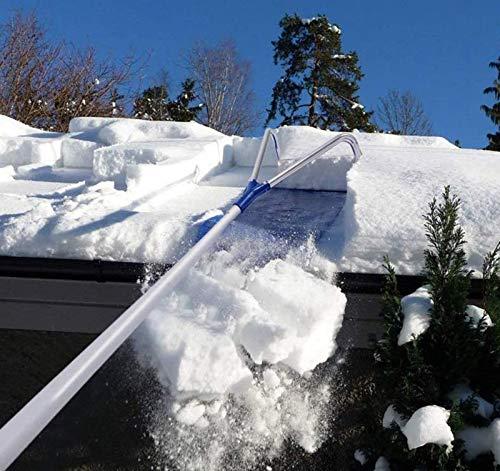 LXLH 20 pies con Mango telescópico Ajustable Herramienta de eliminación de Nieve para Techo, Herramienta de eliminación de rastrillo de Nieve, Herramienta de extracción de rastrillo de Nieve para