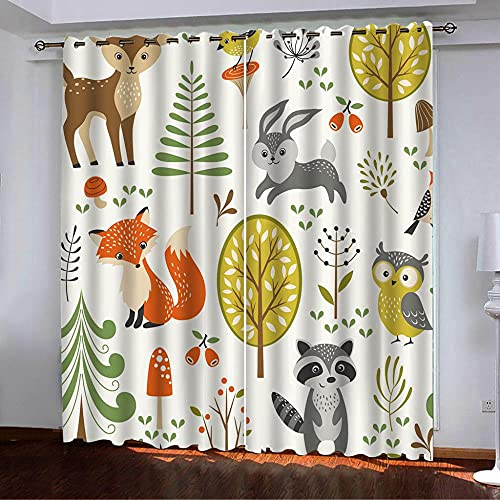 ZZYLCDT Cortinas Opacas Blanco Gris Naranja Anime Animal Elk Cortina Decorativa Opaca con Ojales, Estilo Simple y Elegante, para Salón, Habitación y Dormitorio 140x250cm x2