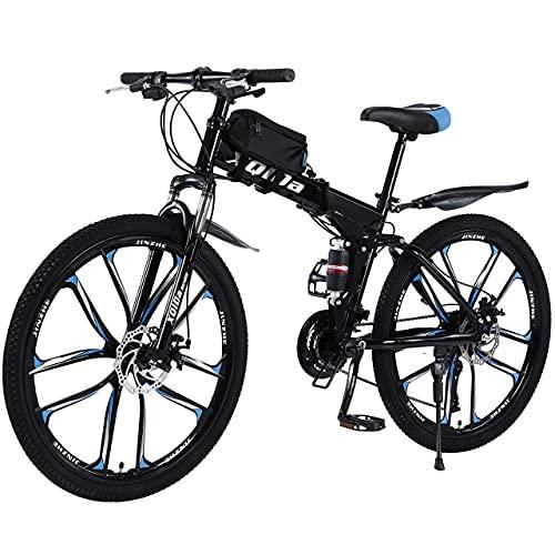 Mountainbike 26 Zoll Klapprad mit doppelten Stoßdämpfung Kohlefaser Rahmen mit fahrradtasche - Scheibenbremse fahrräder,Vollgefederte Bikes perfekt für Damen und Herren (Deutscher Spot)