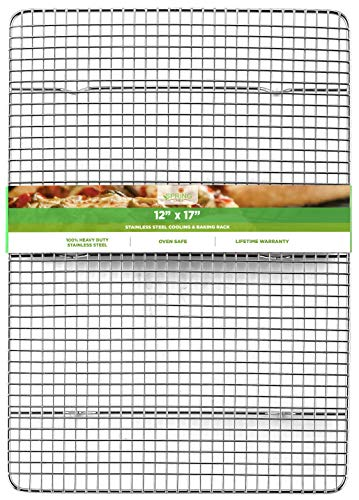 Spring Chef Cooling Rack - Baking Rack - Heavy Duty, 100% Stainless Steel, Oven Safe, 11.8 x 17 Inches Fits Half Sheet Cookie Pan