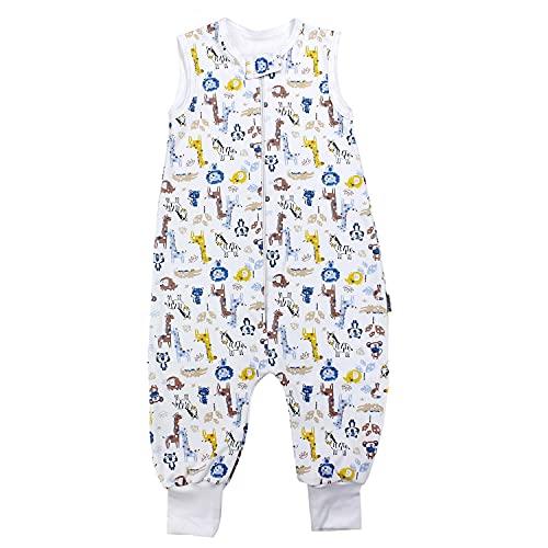 TupTam Unisex Babyschlafsack mit Beinen Unwattiert, Farbe: Safari Gelb/Blau, Größe: 104-110