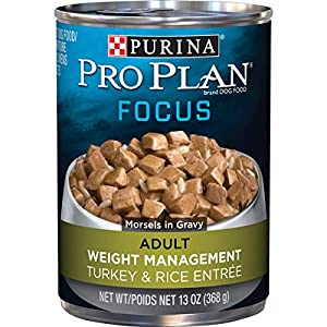 Purina Pro Plan Low Fat, Weight Management Gravy Wet Dog Food, FOCUS Weight Management Turkey & Rice Entree – (12) 13 oz. Cans