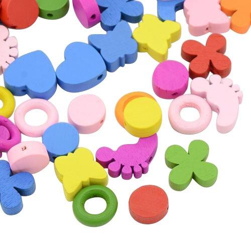 PandaHall 1scatola 80PCS Perline in Legno Tinto Perline Legno Colorate per Gioielli Artigianato Fai da Te Forma Misto Perline Legno per mestiere