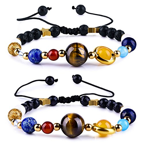 Cat Eye Jewels Solar System Bracelet Adjustable Handmade Universe Galaxy The Nine Planets Guardian Star with Moon Beads Bracelets Bangles, Set of 2