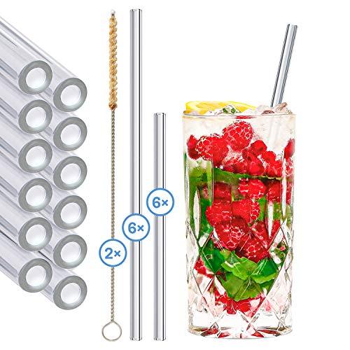 stråwline EINFÜHRUNGSANGEBOT Glas-Strohhalme 12 Stück Verschiedene Größen, wiederverwertbar + Reinigungsbürste (vegan) aus Agave - ideal für Cocktails, Longdrinks & Säfte