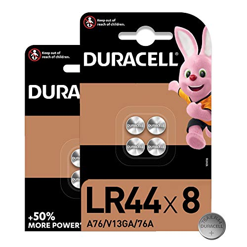 Duracell Specialty LR44 Alkali-Knopfzelle 1,5V, 8er-Packung (76A/A76/V13GA) entwickelt für die Verwendung in Spielsachen, Taschenrechnern und Messgeräten [Amazon exclusive]