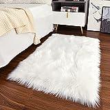 Guucha Soft Modern Faux Sheepskin Rug, 2x3 Feet Fluffy Faux Fur Area Rugs for Bedroom Living Room, Kids Plush Fur Carpets for Boys Girls Nursery Home Decor, White