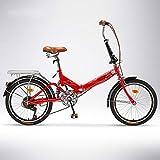 QIANG Pieghevole Bici per Adulti da 20 Pollici 6 velocità Studente Bicicletta Bici Pieghevole Auto, Red