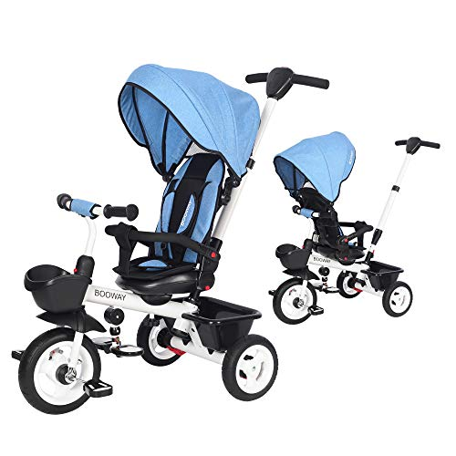 BOOWAY Baby Tricycle 6in1 Kids Stroller Tricycle with Adjustable Push Handle Removable Canopy Safety Harness for 6 Months  5 Year Old