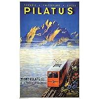 zkpzk スイスルツェルン観光ポスターピラトゥス鉄道クラシック壁アートワークキャンバス絵画ヴィンテージポスターホームバーの装飾ギフト-50X70Cmx1フレームなし