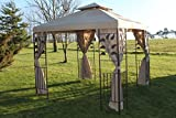 <span class='highlight'>Garden</span> <span class='highlight'>Market</span> <span class='highlight'>Place</span> Leaf Design 2.5M Square <span class='highlight'>Garden</span> Gazebo-Beige Cover & 4 Net Curtains with Strong Steel Frame, 250 X 250 X 260 CM