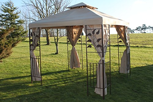 Garden Market Place Leaf Design 2.5M Square Garden Gazebo-Beige Cover & 4 Net Curtains with Strong Steel Frame, 250 X 250 X 260 CM