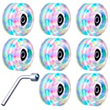 Tanzfrosch 8 Pack Roller Skate Wheels with Bearings Installed Luminous Quad Light Up Wheels for Double Row Skating and Skateboard 32mm x 58mm