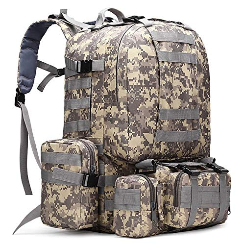Liusujuan 50L Tactical Backpack,4 in 1 Military Backpack,Army Molle Outdoor Sport Bag,Men Camping Hiking Travel Climbing Backpack Tactical (Color : ACU)