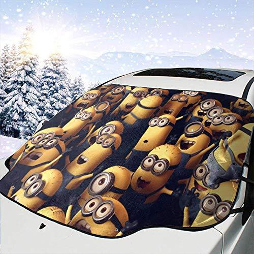 JONINOT Niedliche Mi-NI-ons Auto Windschutzscheibe Schneedecke Sonnenschutz zur Verhinderung von Kratzern Wasserdichter Anti-UV-Frostschnee für die meisten Fahrzeuge