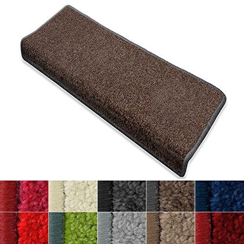 casa pura Stufenmatte Dynasty Velours   Halbrund oder eckig   In 7 Farben (Stufenmatte rechteckig 15 Stück, Schlamm)