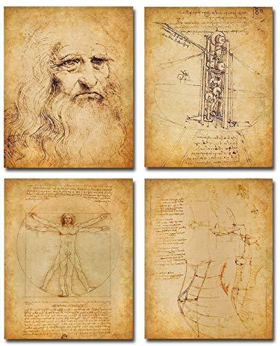 Original Leonardo da Vinci Art Prints - Set of Four Photos (8x10) Unframed - Makes a Great Gift Under $20 for Art and History Lovers