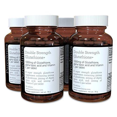 Double Strength Glutathione 1000mg x 240 Tablets (60 tablets per bottle, 4 bottles). With 500mg Glutathione, 300mg ALA, and 200mg Vitamin C per tablet. 200% stronger than regular glutathione tablets. SKU: GLU3x4