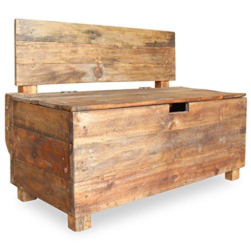 vidaXL Sitzbank mit Staufach Handgefertigt Holzbank Truhenbank Sitztruhe Bank Aufbewahrungstruhe Spielzeugkiste Massives Altholz 86x40x60cm