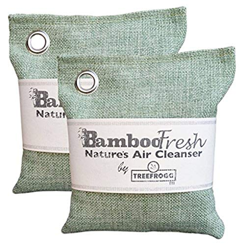 Bamboo Charcoal Natural Air Purifying Bag - 2 Pack Total of 400g Odor Eliminator for Cars, Closets, Bathrooms, Kitchens, Pet Areas and Basements ~ NO Fragrance ~ Captures & Eliminates Odors (2)