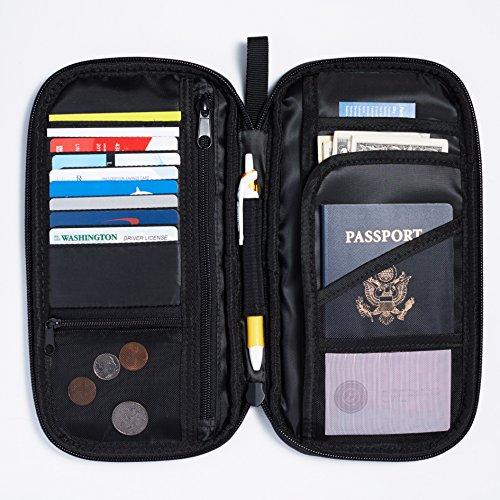 Amazon Basics RFID Travel Passport Wallet Organizer - 10 x 5 Inches, Black