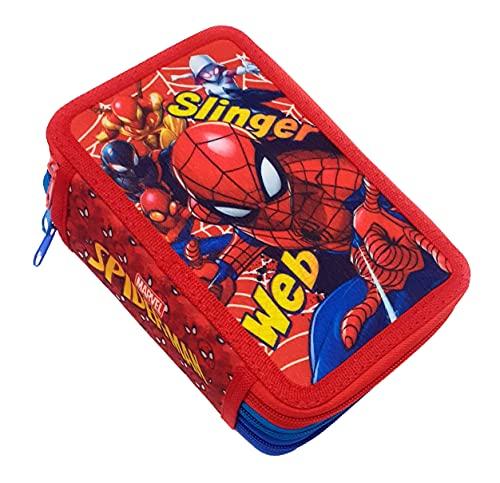 Dimagraf Spiderman - Astuccio Scuola 3 Zip Spiderman - Completo di 44 Pezzi - Prodotto Ufficiale Marvel (Modello B)