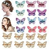 20 pièces Pinces à cheveux papillon à paillettes and 8 pces Barrettes papillon en métal doré Des pinces à cheveux colorées pour les femmes