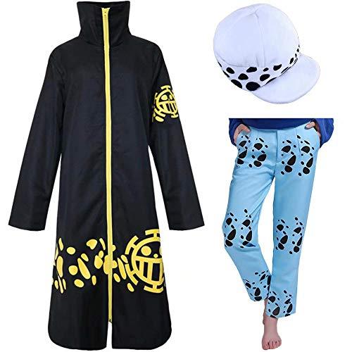 ONE Piece Trafalgar Law Cosplay Kostüm Outfit Death Surgeon Jacke Mantel Captain of Heart Piraten Halloween Kostüm, Windjacke & Hut & Hose