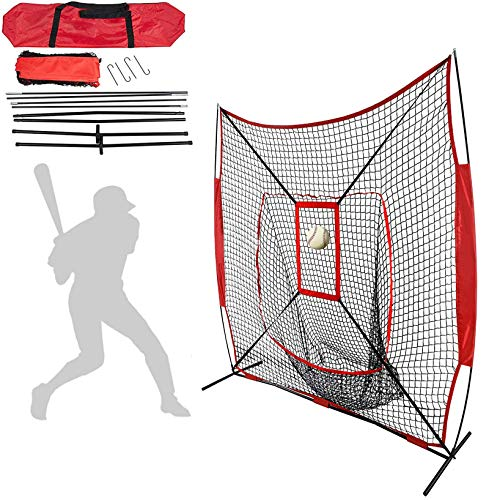 LXT PANDA 7 Pollici Baseball Softball Practice Net, Baseball Softball Pitching Batting Coaching Pack con Carry Bag e Metal Bow Frame, Backstop Screen Equipment Training Aids.