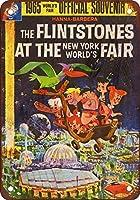 Shimaier 壁の装飾 メタルサイン Flintstones at the 1965 World39;s Fair ウォールアート バー カフェ 縦20×横30cm ヴィンテージ風 メタルプレート ブリキ 看板