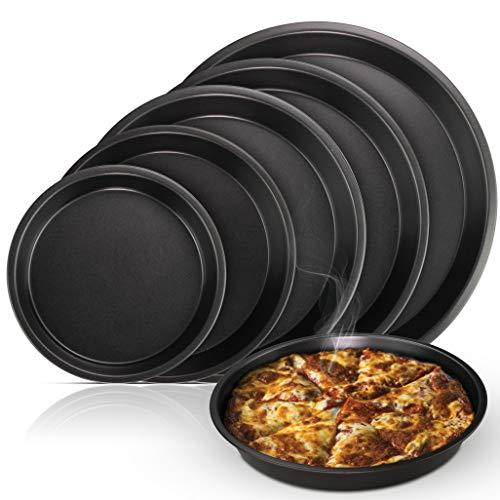 Arikaree Set 5 Teglie per Pizza Rotonde, teglia Forno Pizza Professionale. Teglia Pizza in Alluminio, Antiaderente. Ideale per Dolci, Torte e Pane (5 Pezzi)