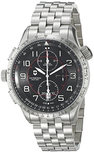 Victorinox Airboss Mach 9 Analog Display Chronograph Automatic Watch, Silver Stainless Steel Band, 45mm