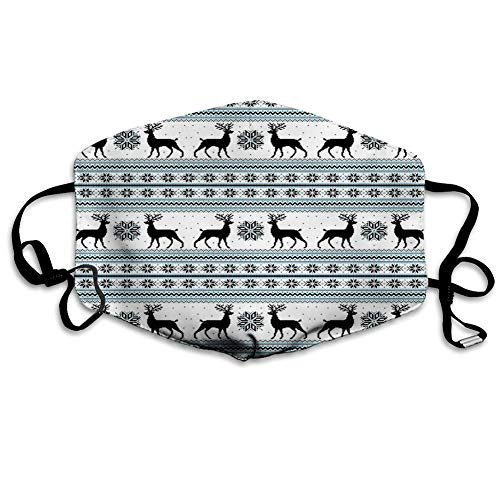 Comfortable Windproof mask,Chevron Zigzags Winter Floral Arrangement Norwegian Reindeer Snow Pattern. Printed Facial decorations for Unisex adult