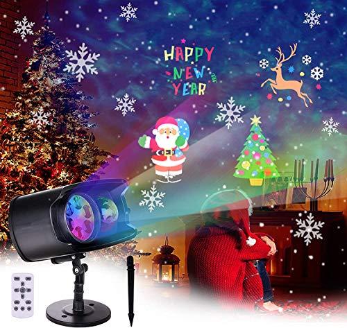 BACKTURE Projecteur Halloween, Lampe Projecteur LED Noël avec Intégrés 9 Scènes Animées et 13 Ondulation de l'eau, Projecteur de Lumière Extérieur et Intérieur Décoration pour Noël Halloween Fête