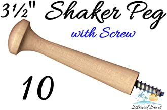 "10-3½"" Wood Peg with Screw - Birch Shaker Style Wooden Screw-in Shaker Pegs Screw- on Hanger-Bolt Hat Rack. Not Intended f..."