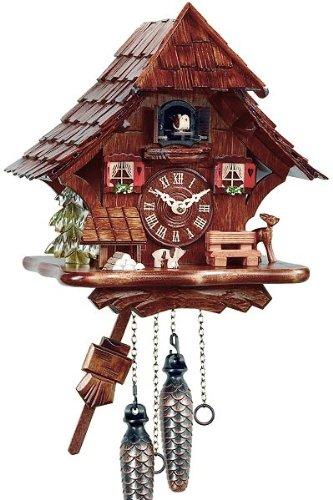 Orologio a cucù in vero legno, con meccanismo al quarzo, funzionamento a batteria, motivo Eble, casa della Foresta Nera, 27 cm - 11543