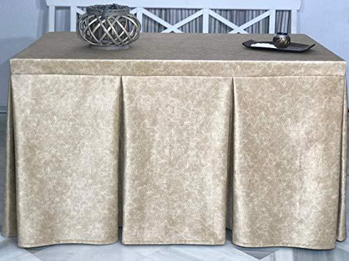 INUSUAL Falda o Ropa de Camilla Rectangular Invierno 120X70X72 Modelo IBI, Textura Suave Satinado Efecto mármol (Oro)