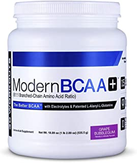 Modern BCAA+ Essential Amino Acid (EAA) Branched Chain Amino Acid (BCAA) Muscle Recovery Supplement Powder Drink Mix, Grap...
