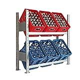 Getränkekistenregal - Regal für Getränkekisten- Getränkeregal - Kistenregal made in Germany 100 x100 cm 2 Ebenen für bis zu 6 Getränkekisten (Grundregal)