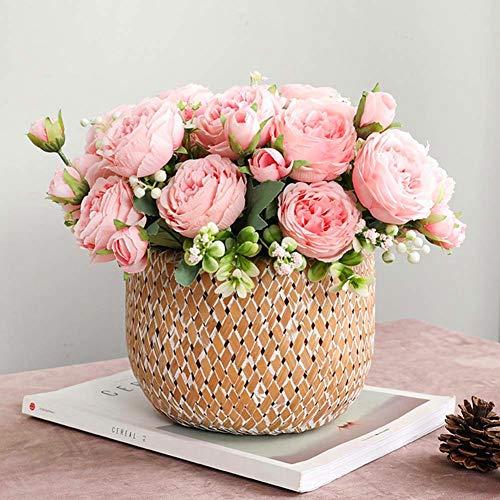 künstliche Blume, lebensecht künstliche Rosen, für Hochzeit, Valentinstag, Vorschlag, Party Dekoration mit Blume (Rosa)