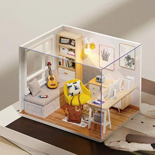 Fangteke Casa de muñecas en miniatura con muebles, kit de