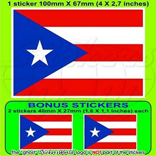 Porto Rico Drapeau de Porto Rico 10,2 cm Bumper Sticker en vinyle (100 mm), en x1 + 2 Bonus