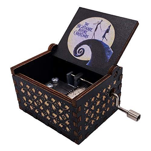 Youtang Caja musical de manivela de mano La pesadilla antes de Navidad tallada caja de música de madera pintada regalos musicales para fans (blanco y negro)