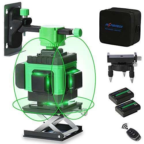 Inspiritech 360 Laser Level3D Green Beam Self Leveling Cross Line Laser3 x 360 Rechargeable Lazer Leveler Alignment Tool for Construction Flooring Tile with 2 Batteries and Remote Controller